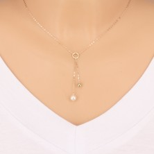 Collana in oro 9K - cerchio, pallina brillante e perla sulla catena