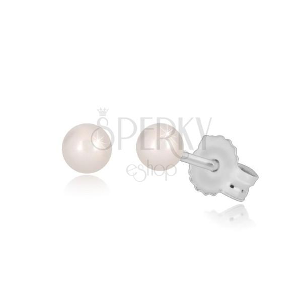 Orecchini in oro bianco 14k - perla arrotondata in color bianco