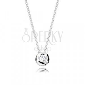 Collana in oro bianco 14K - cerchio brillante con diamante, catena sottile