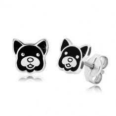 Orecchini in argento 925 - testa cane decorato con smalto nero, perno