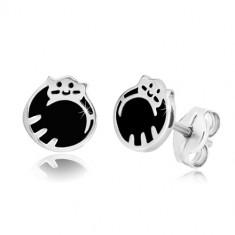 Orecchini in argento 925 - gatto arricciato in una pallina, smalto nero, perno