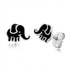 Orecchini in argento 925 - elefante con smalto nero