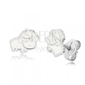 Orecchini con modello animale - pecora bianca con smalto, argento 925