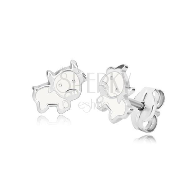 Orecchini in argento 925 - mucca, contorno brillante con smalto bianco, perno