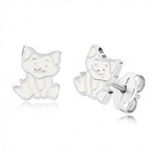Orecchini in argento 925 - gatto seduto, contorno in dettagli e smalto bianco
