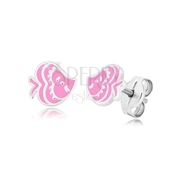 Orecchini con modello animale - pesce con smalto rosa, argento 925