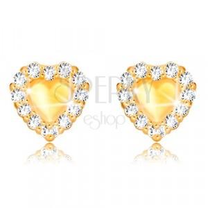Orecchini in oro giallo 375 - cuore pieno simmetrico, bordo in zircone chiaro