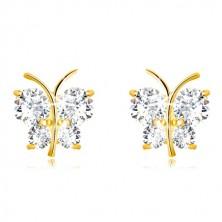 Orecchini in oro 9K - farfalla brillante con ali brillanti, zirconi trasparenti