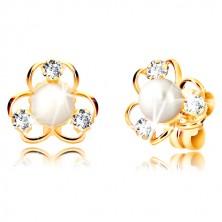 Orecchini in oro giallo 375 - fiore con tre petali, zirconi e perla