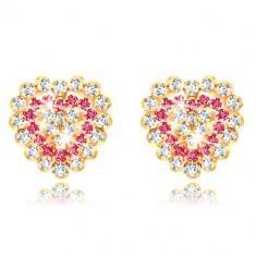 Orecchini in oro giallo 9K - zircone brillante a cuore, zirconi chiari e rosso-rosa