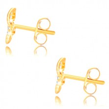 Orecchini in oro giallo 375 - nastro brillante, nodo celtico, zirconi trasparenti