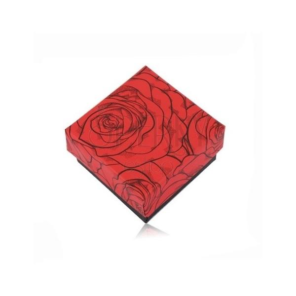 Confezione regalo in nero-rosso per due anelli o orecchini - rose fiorite
