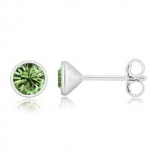 Orecchini in argento 925 - zircone verde chiaro in montatura brillante, perno