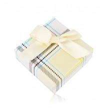 Confezione regalo per orecchini o anello - modello tartan giallo, fiocco