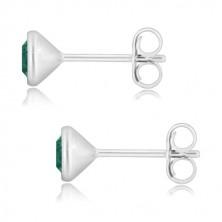 Orecchini in argento 925 - zircone verde smeraldo in montatura brillante, perno