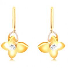 Orecchini in oro 9K - barra stretta, farfalla con zircone, contorno ala in oro bianco