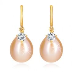 Orecchini con diamante in oro giallo 14K - arco brillante, perla ovale e brillante
