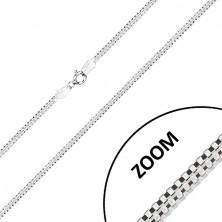 Catena in argento 925 - due catene angolari intrecciate, chiusura a moschettone, 2,7 mm