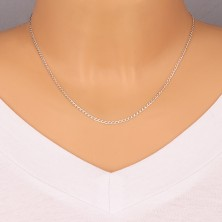 Catena in argento 925 - maglie ovali con bordi con intagli, unite in serie, 1,8 mm