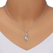 Collana in argento 925 - numero otto, nastri arcuati con perla, catena