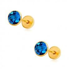 Orecchini in oro giallo 14K - zircone blu in montatura, chiusura a perno e farfalla, 5 mm