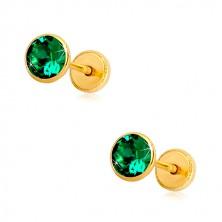 Orecchini in oro 14K - zircone verde smeraldo in montatura, chiusura a perno e farfalla, 5 mm