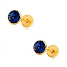 Orecchini in oro giallo - zircone blu zaffiro in montatura, chiusura a perno e farfalla, 5 mm