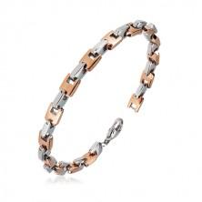 Bracciale in acciaio - maglie a U unite su perpendicolare in color argento e oro rosa, 6 mm