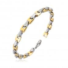 Bracciale in acciaio - maglie a U color dorato e argento, 6 mm