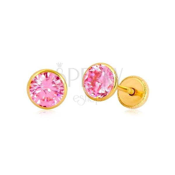 Orecchini in oro giallo 14K - zircone rosa in montatura, chiusura a perno e farfalla, 5 mm