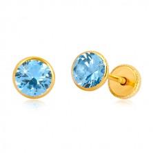 Orecchini in oro giallo 14K - zircone blu azzuro in montatura, perno e farfalla, 5 mm