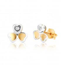 Orecchini in oro 375 in due colori - trifoglio in due colori, piccolo zircone