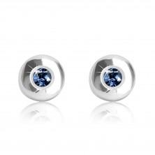 Orecchini in oro bianco 375 - cerchio brillante con zaffiro blu scuro, 5 mm