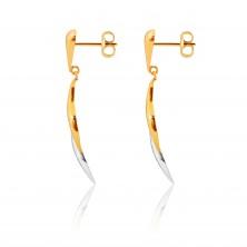 Orecchini in oro 9K in due colori - lacrima ritorta, linee curve in due colori