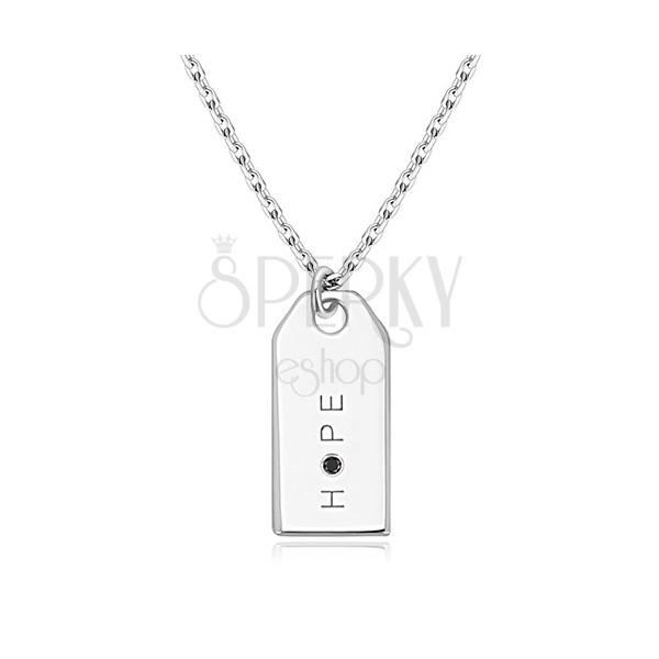 """Diamante nero - collana in argento 925, targhetta brillante, scritta """"HOPE"""""""