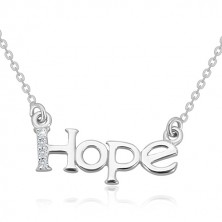 "Collana in argento 925 - catena brillante, scritta ""Hope"" con linea in diamante"