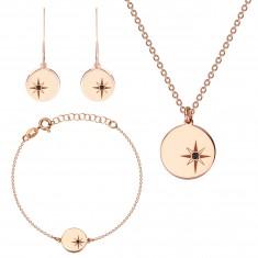 Set in tre pezzi, argento 925 color rosa-dorato - stella del nord, diamante nero
