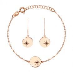 Set in argento 925, rosa-dorato - bracciale e orecchini, cerchio con Polaris, diamante nero