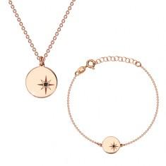 Set in argento 925, color rosa-dorato - bracciale e collana, cerchio, Polaris e diamante