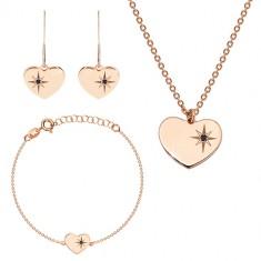 Set in tre pezzi di color rosa-dorato, argento 925 - cuore brillante, stella del nord, diamante nero