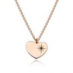 Collana in argento 925 - color rosa-dorato - cuore simmetrico, Polaris, diamante nero