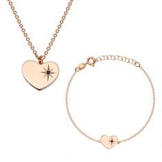 Set in argento 925 in color rosa-dorato - bracciale e collana, cuore con Polaris e diamante
