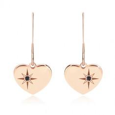 Orecchini in argento 925, color rosa-dorato - cuore simmetrico, stella del nord, diamante nero