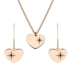 Set in rosa-dorato, argento 925 - orecchini e collana, cuore con Polaris e diamante