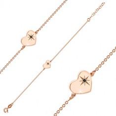 Bracciale in argento 925 in color rosa-dorato - cuore brillante, stella del nord, diamante nero