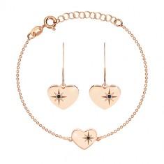 Set in argento 925, color rosa-dorato - collana e orecchini, cuore con Polaris e diamante