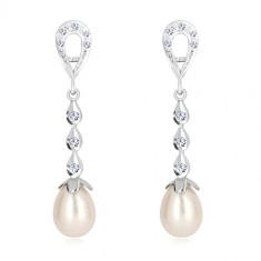 Orecchini in oro bianco 9K - contorno lacrima, tre gocce con zirconi, perla bianca