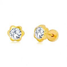 Orecchini in oro giallo 585 - fiore, centro con zircone brillante, perno e farfalla