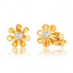 Orecchini in oro 9K - fiore con sette petali, zircone chiaro nel centro