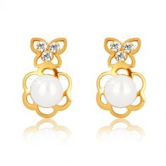 Orecchini in oro giallo 375 - contorno fiore con perla, farfalla con zirconi
